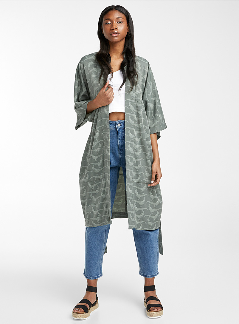 Ic?ne Patterned Green Belted silky kimono for women