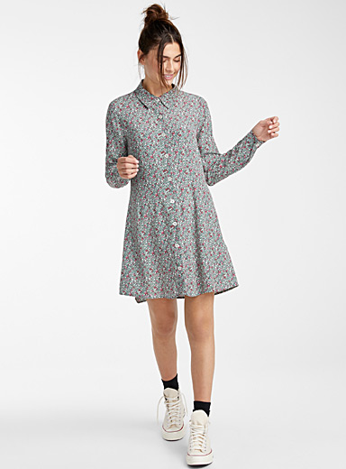 Twik Bottle Green Buttoned shirtdress for women