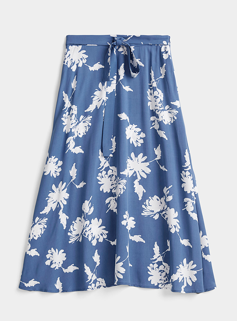 Contemporaine Lilacs Fluid patterned maxi skirt for women