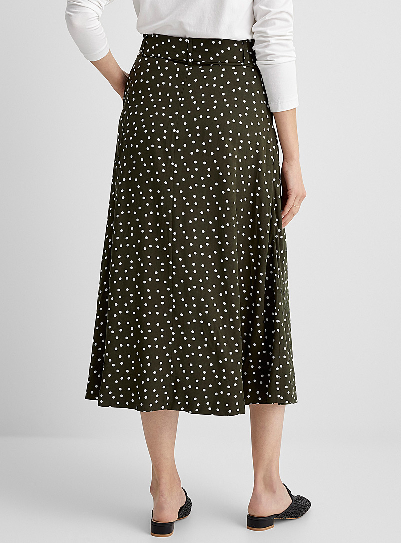 Contemporaine Patterned Green Patterned button-up midi skirt for women