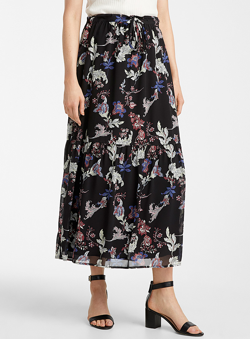 Contemporaine Patterned Black Floral chiffon peasant skirt for women