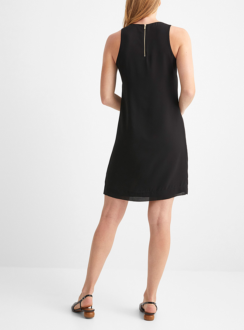 Contemporaine Patterned Black Recycled chiffon shift dress for women