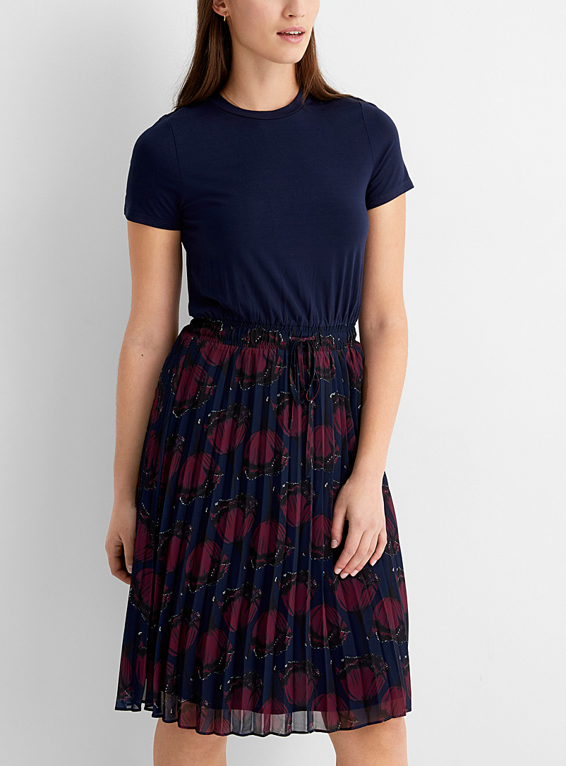 Pleated floral skirt dress