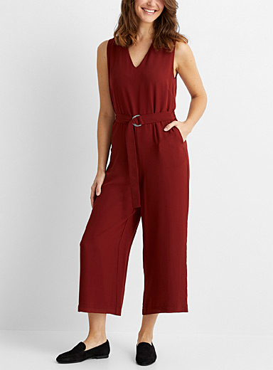 Recycled chiffon belted jumpsuit