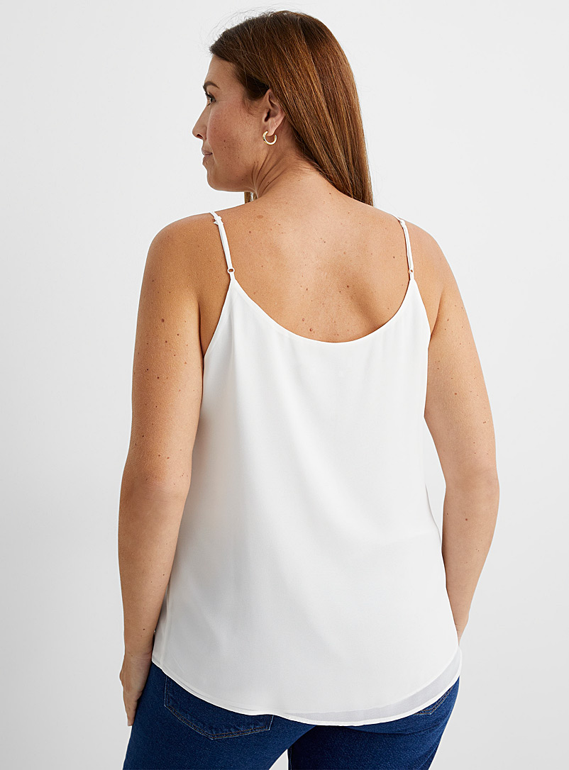 Contemporaine Black Recycled chiffon thin strap cami for women