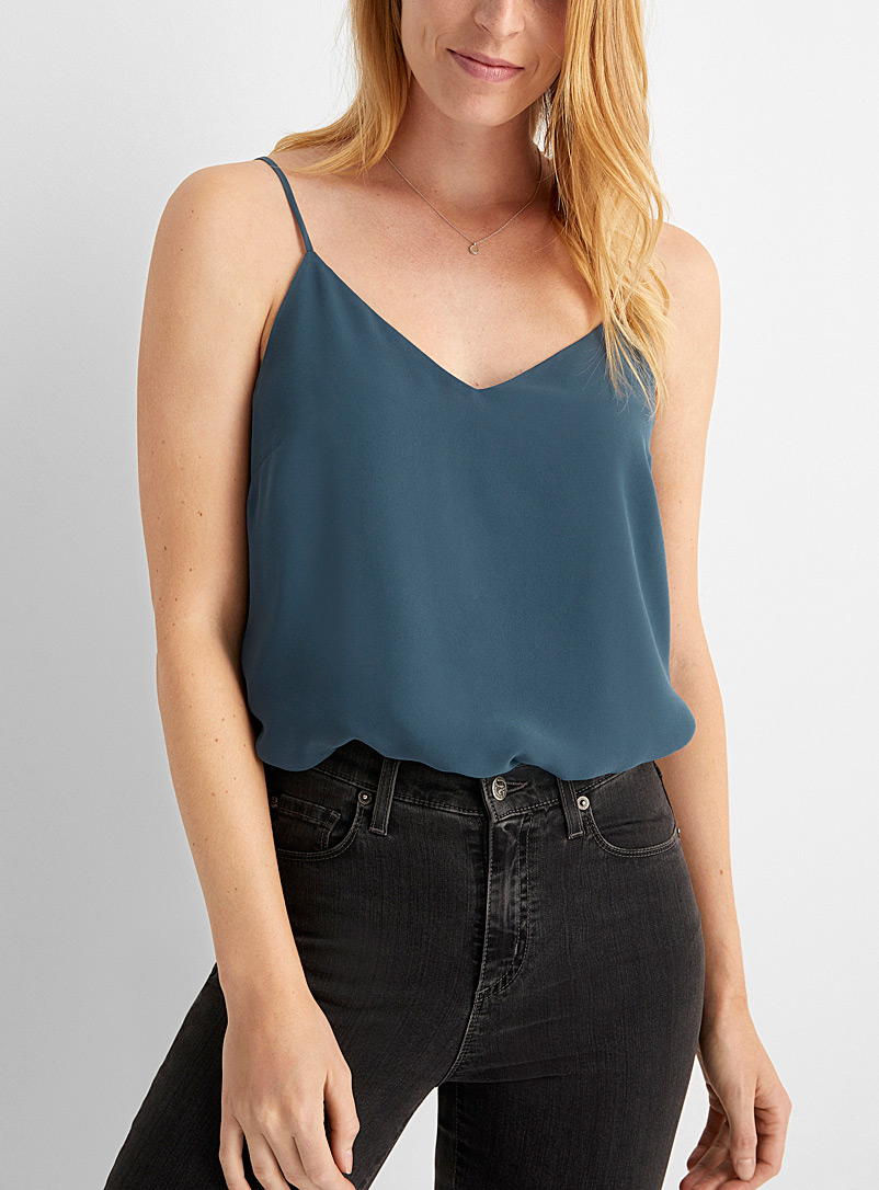 Contemporaine Teal Recycled chiffon thin strap cami for women
