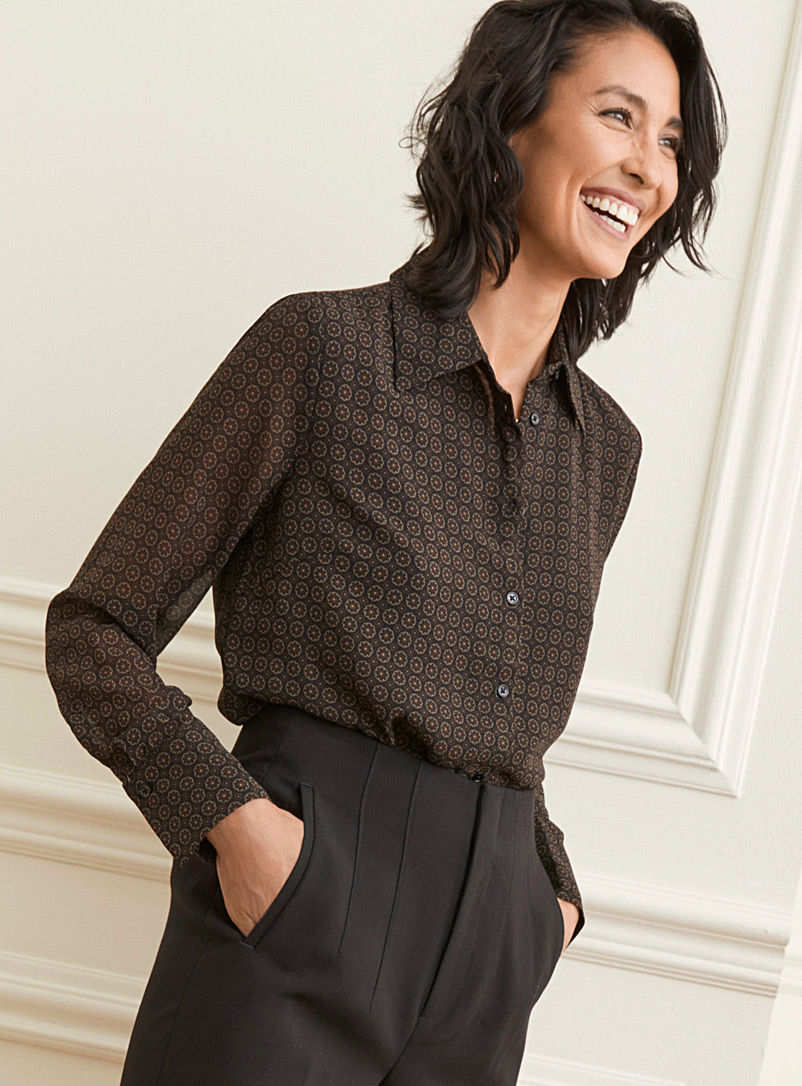 Contemporaine Patterned Brown Patterned recycled chiffon shirt for women