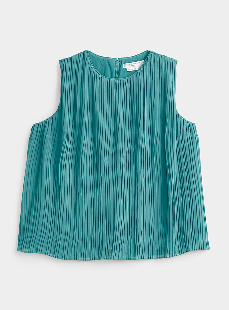 Recycled chiffon pleated camisole