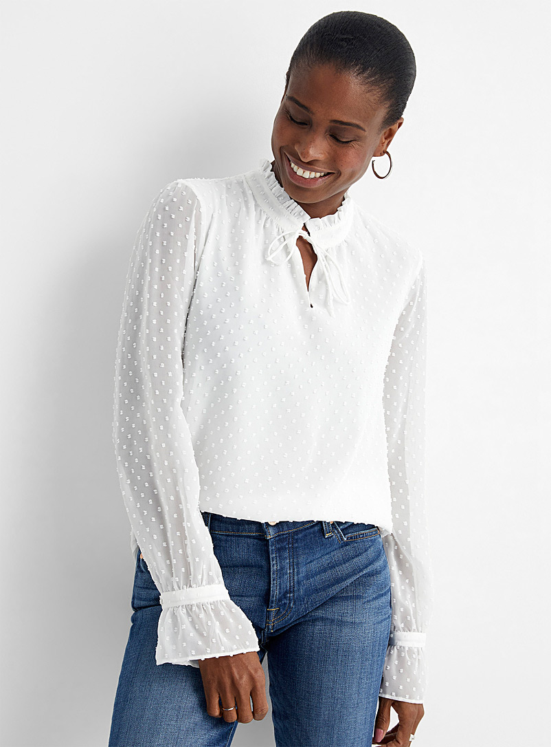 Swiss dot ruffle-collar blouse