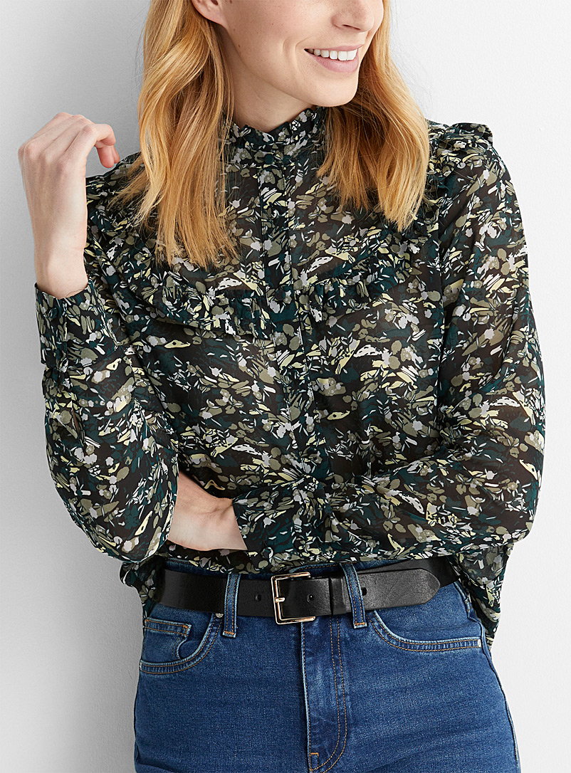 Contemporaine Patterned Black Ruffle-collar recycled chiffon blouse for women