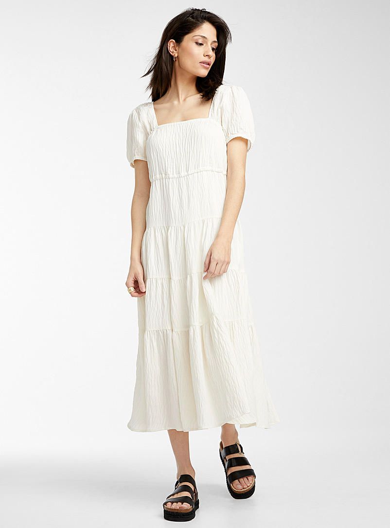 Icône Baby Blue Ruffled peasant maxi dress for women