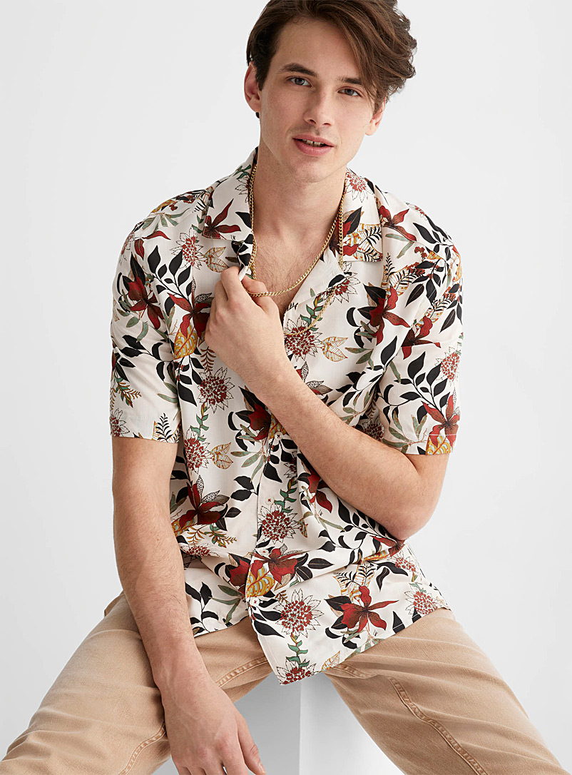 Le 31 Cream Beige All-over print camp shirt Comfort fit for men