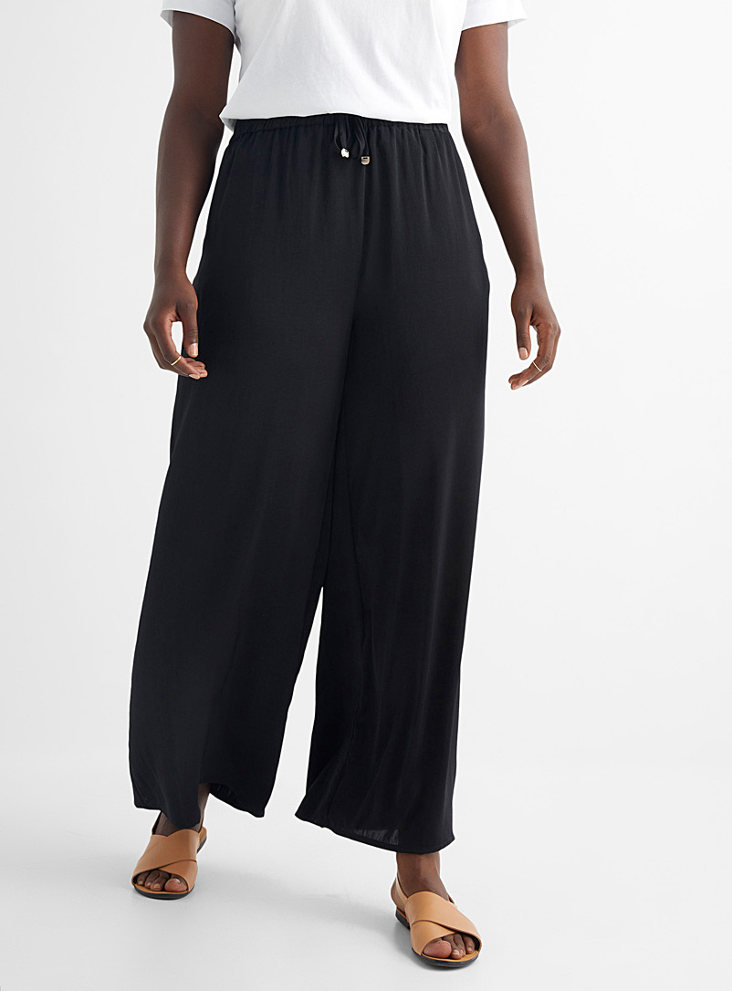 Contemporaine Black Recycled satin wide-leg pant for women