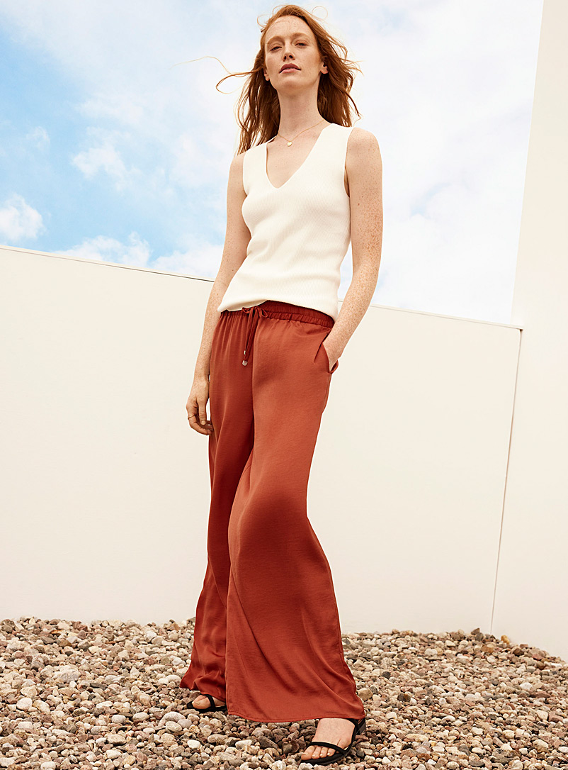Contemporaine Tangerine Recycled satin wide-leg pant for women