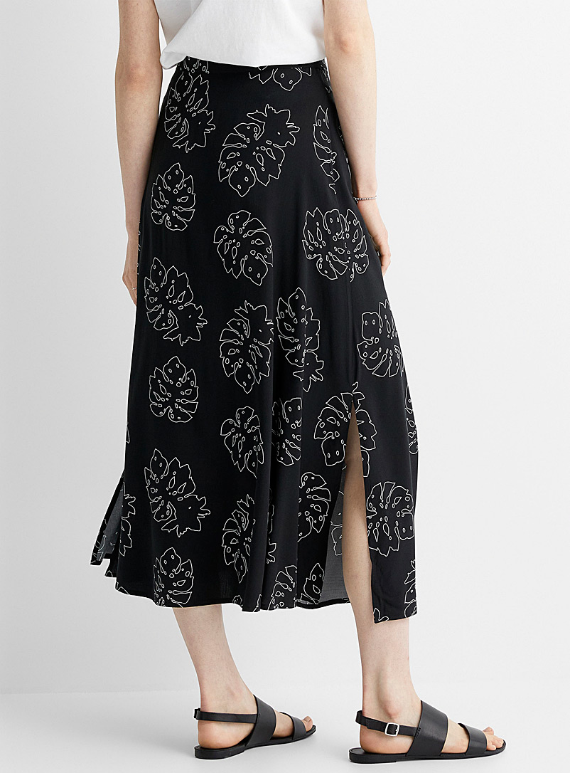 Contemporaine Black and White Patterned tie-waist maxi skirt for women