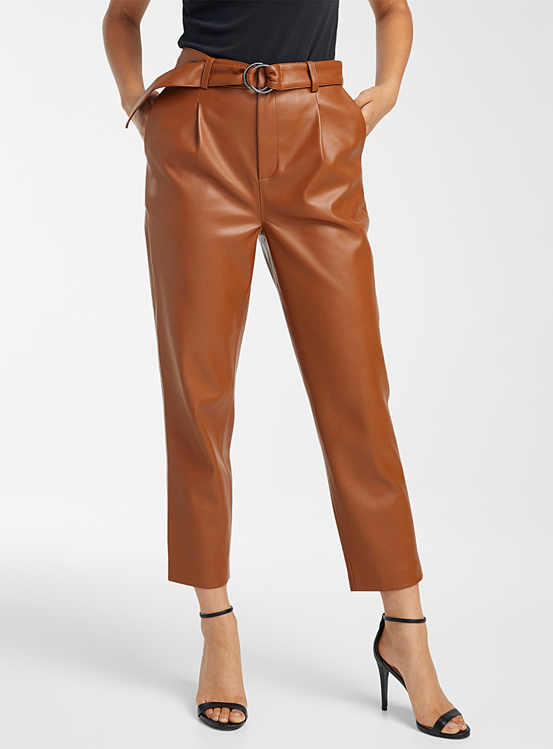 Icône Black Belted faux-leather pant for women