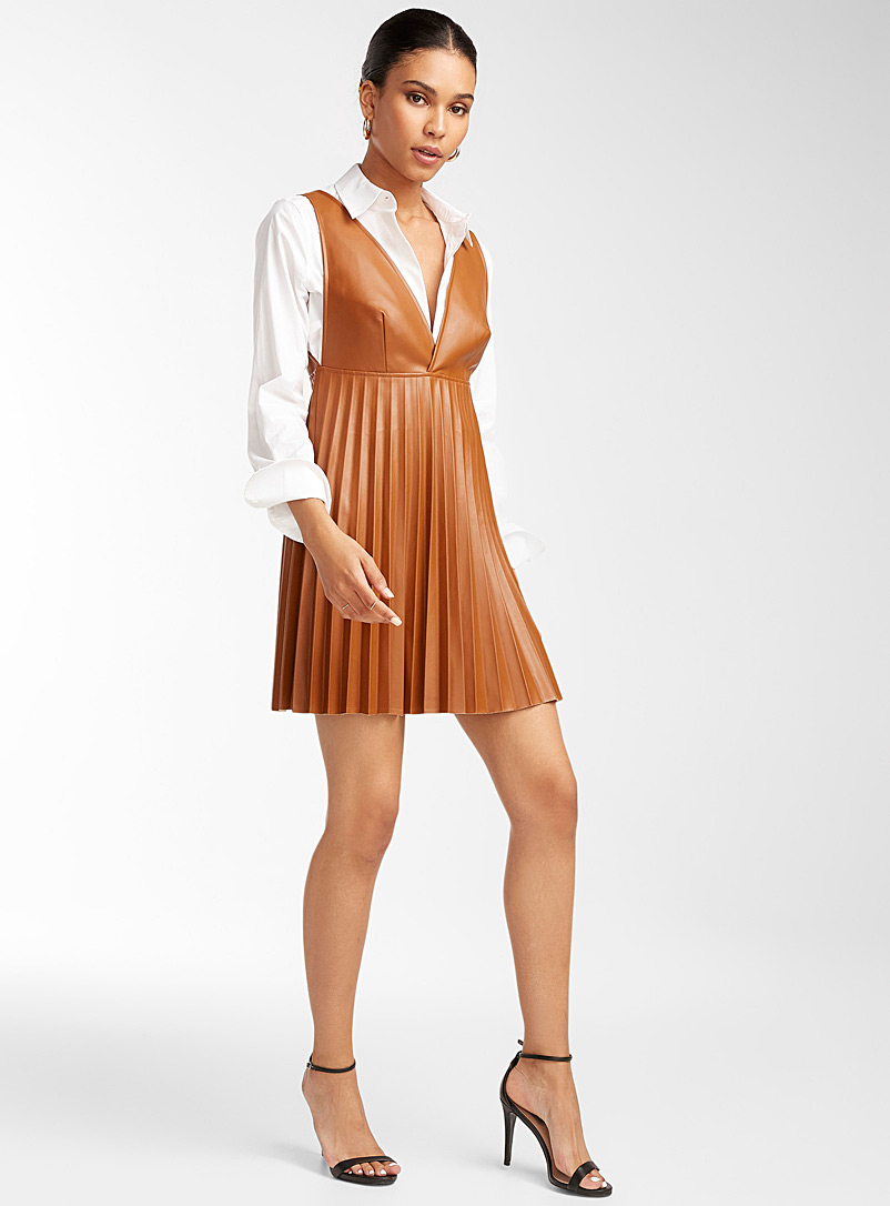 Icône Brown Faux-leather jumper dress for women