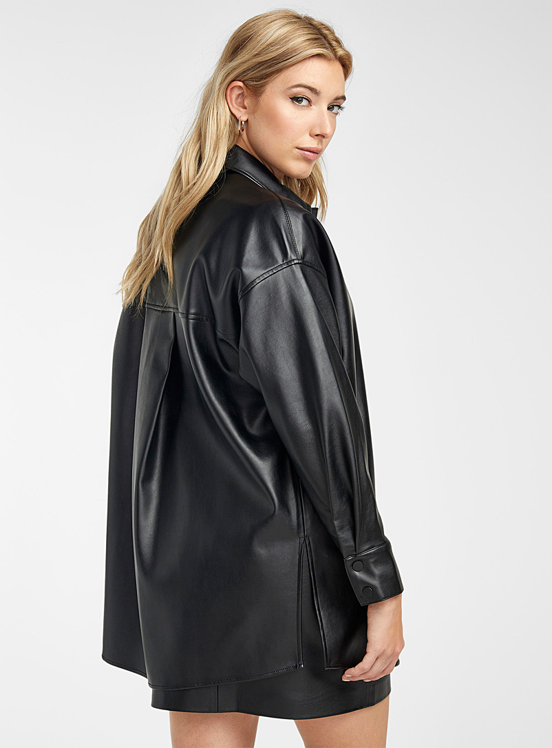 Icône Black Soft faux-leather oversized overshirt for women