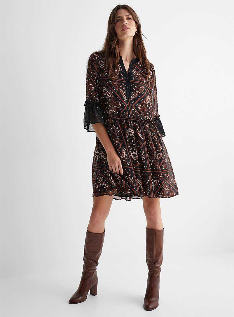Contemporaine Patterned Black Paisley and polka dots chiffon dress for women