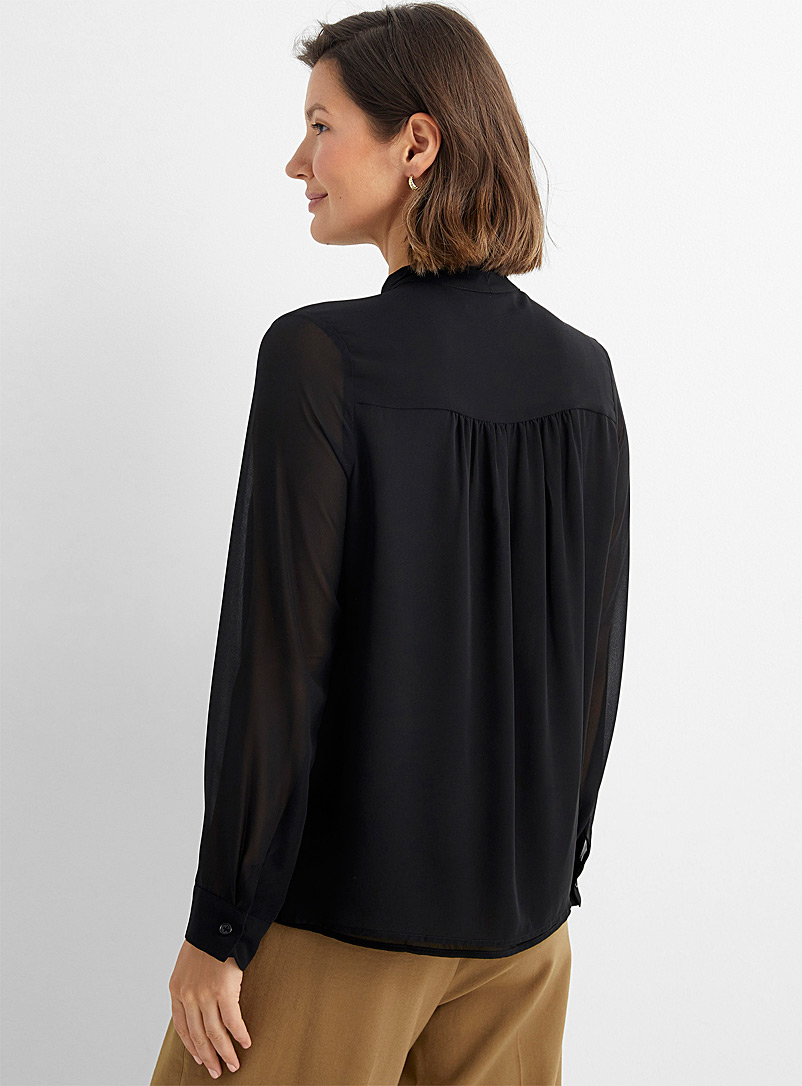 Contemporaine Assorted Recycled chiffon tie-neck blouse for women