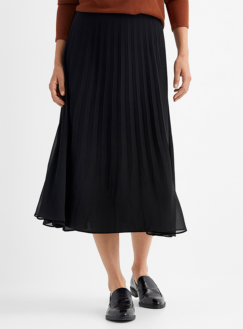 Contemporaine Black Pleated recycled chiffon skirt for women
