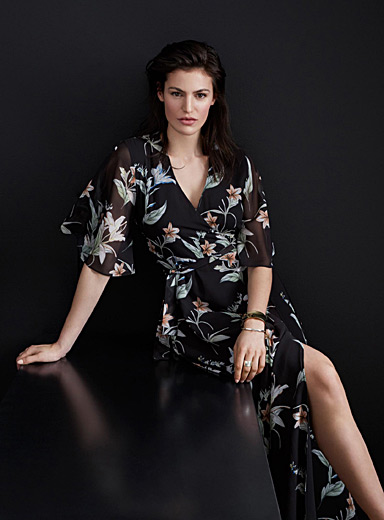 Nocturnal garden wrap dress