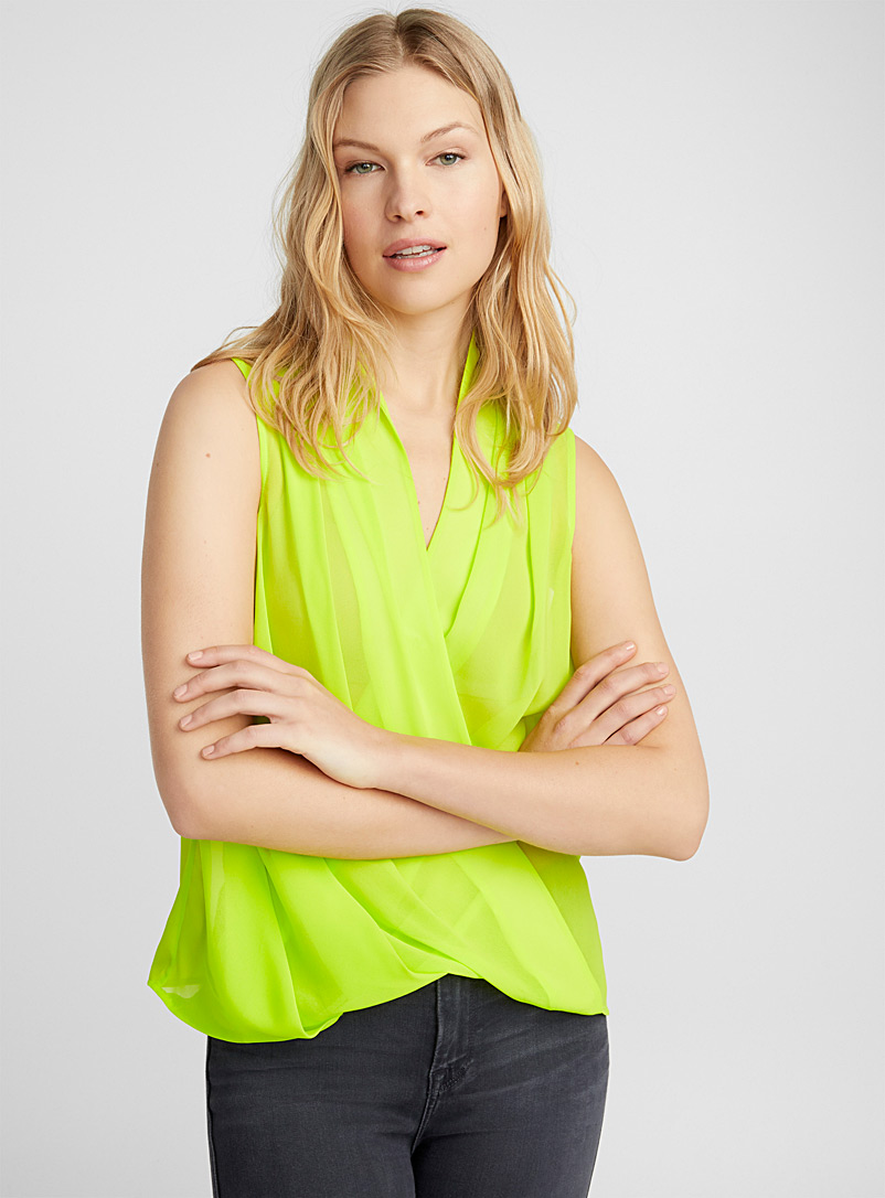 Fluid crossover blouse - Blouses - Lime Green