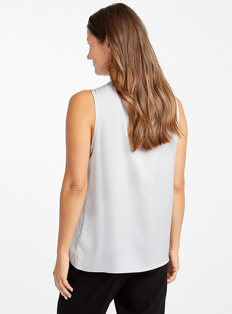 Contemporaine Ivory White Mock-neck hammered satin camisole for women