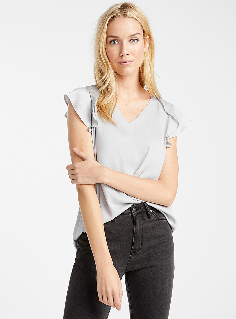 Contemporaine Grey Hammered satin ruffle-sleeve blouse for women