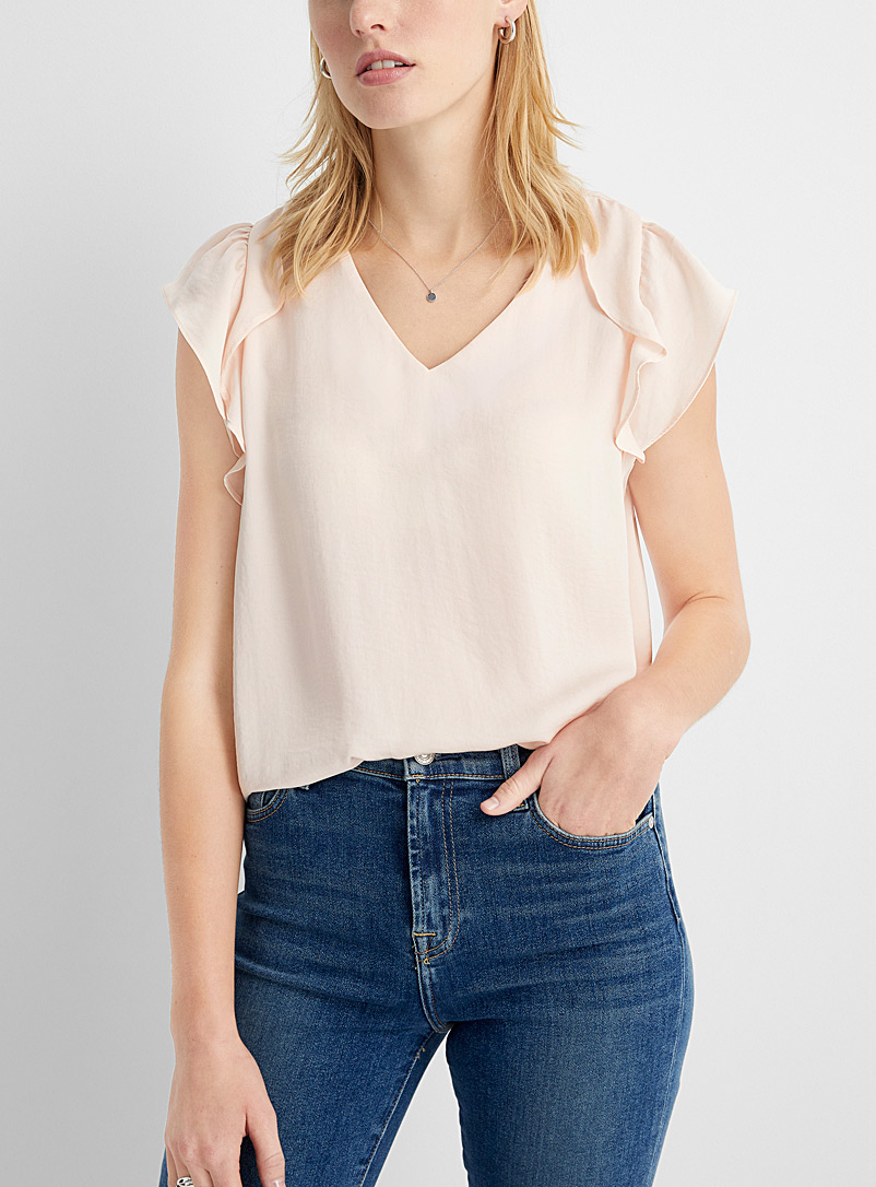 Hammered satin ruffle-sleeve blouse
