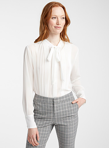 Contemporaine Ivory White Pleated sheer blouse for women