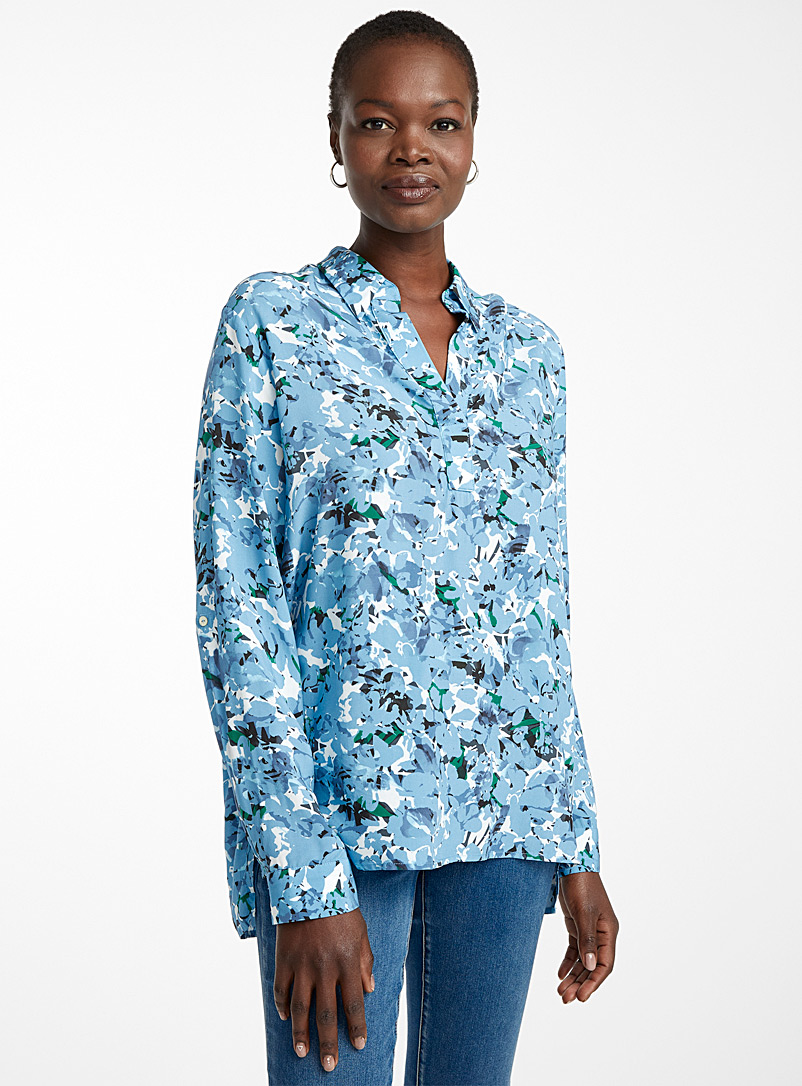 Contemporaine Patterned Blue Printed Johnny collar blouse for women