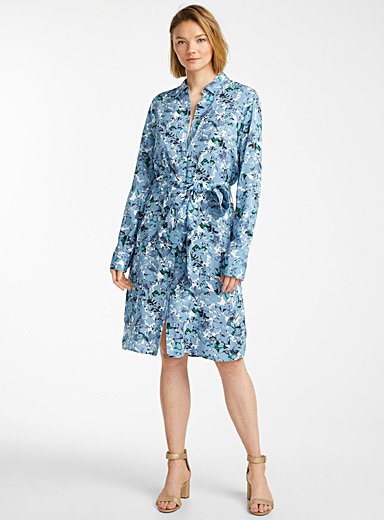 Contemporaine Patterned Blue Belted & printed shirtdress for women