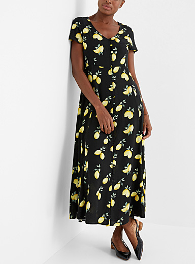 Covered button maxi dress
