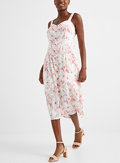 Floral poetry button-up dress