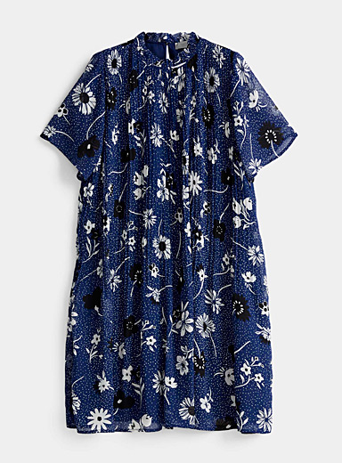 Contemporaine Patterned Blue Recycled chiffon pleated floral dress for women