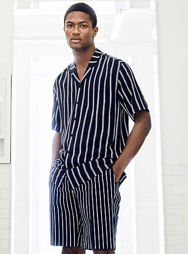 Striped camp shirt <br>Semi-tailored fit