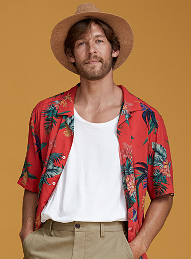 Fluid printed camp shirt