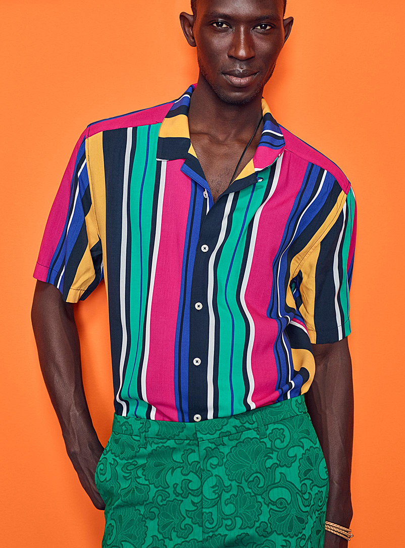 Fluid printed camp shirt - Patterns - Assorted