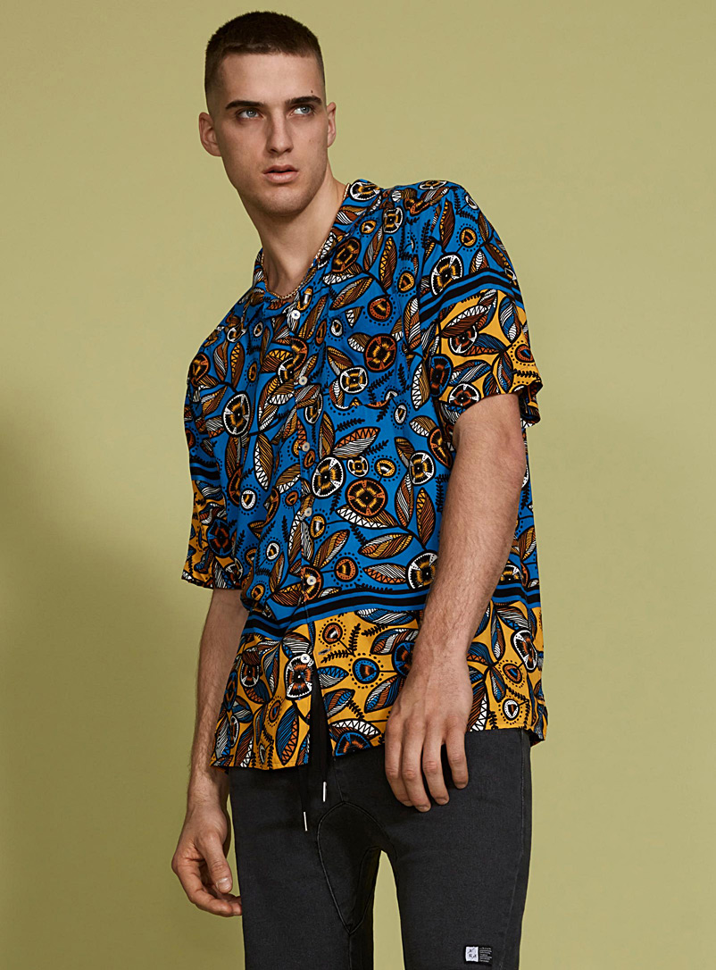 Ultra colourful tropical camp shirt - Short sleeves - Patterned Blue