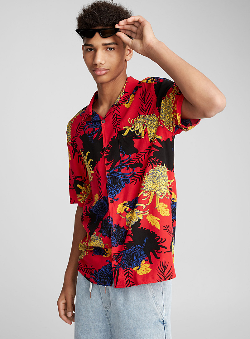 Neo tropical camp shirt - Short sleeves - Patterned Red