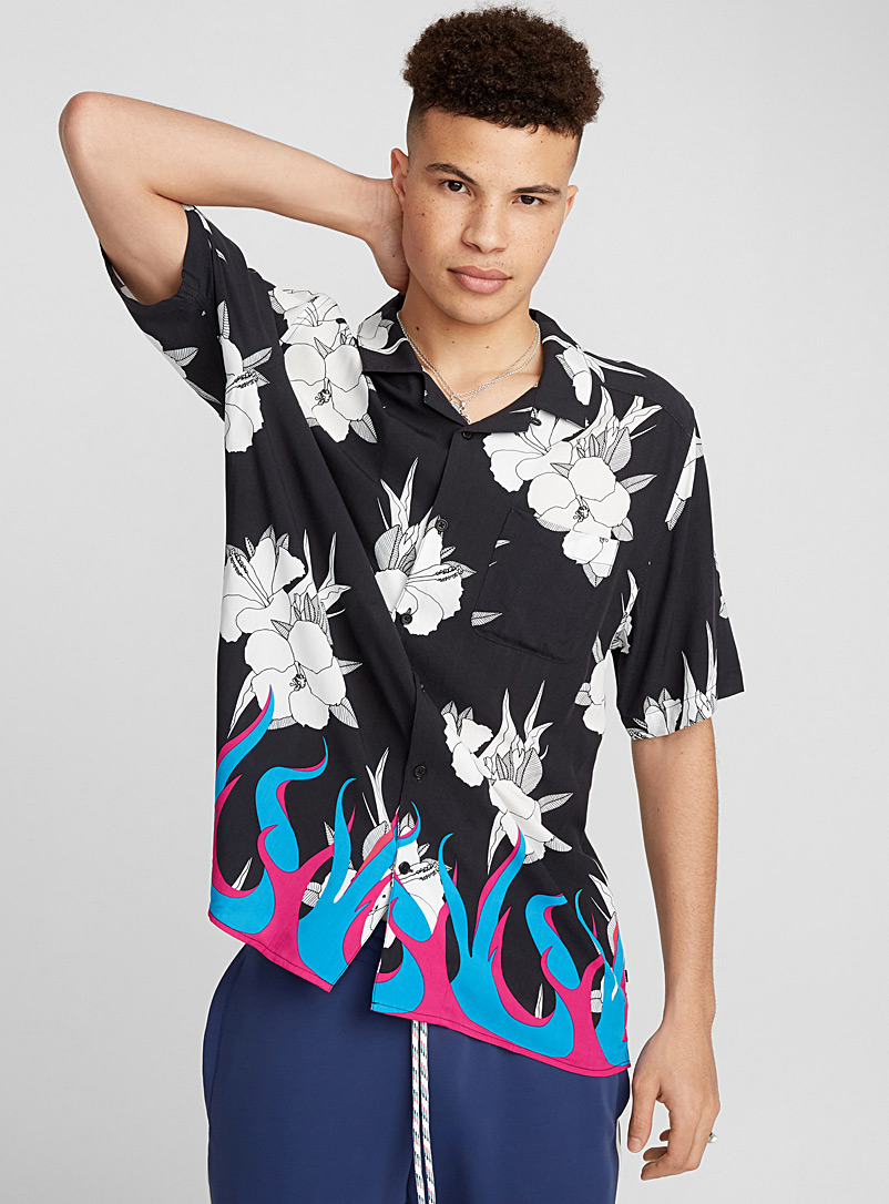 Ultra colourful tropical camp shirt - Short sleeves - Patterned Black
