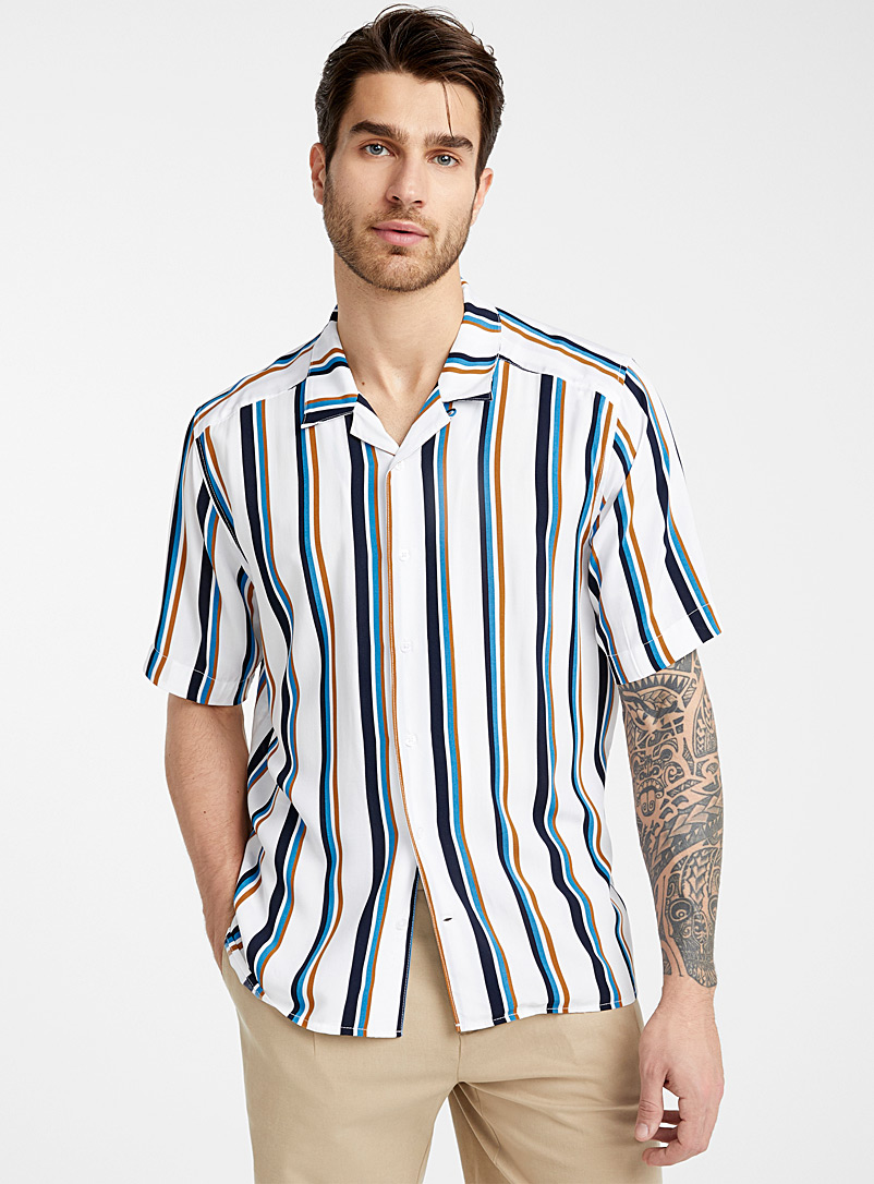 Le 31 Patterned White Retro stripe fluid shirt for men