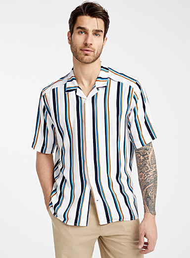 Retro stripe fluid shirt