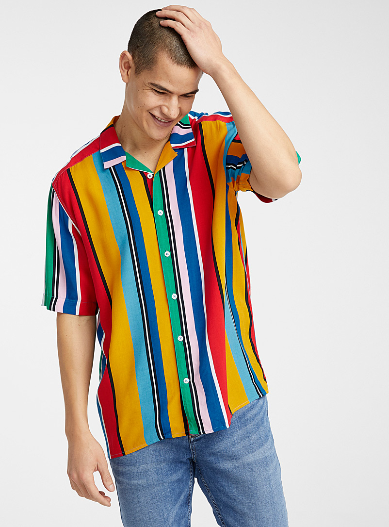 Le 31 Assorted Retro stripe camp shirt for men