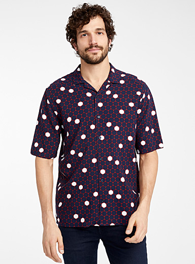 Le 31 Patterned Red Cape Town eco camp shirt  Comfort fit for men