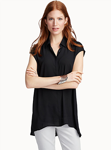 Fluid cap-sleeve tunic