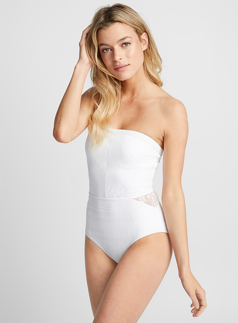 Crochet bandeau one-piece - All our swimsuits - White