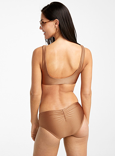 Anne Cole Toast Iridescent sepia ruched bottom for women