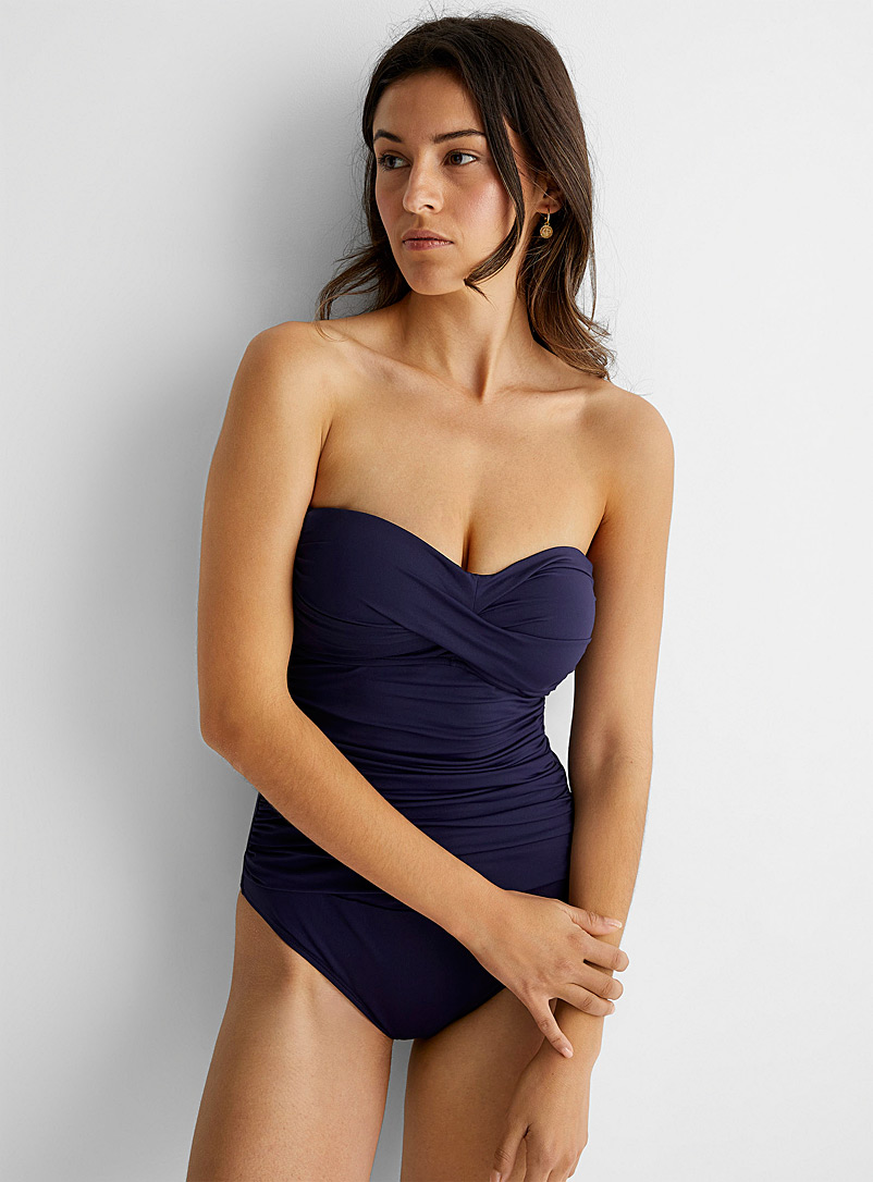 Anne Cole Marine Blue Twisted bustier one-piece for women